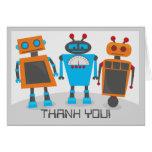 Robot Party Thank You Notecard Card