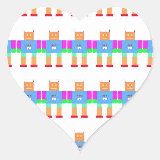 Robot pattern heart sticker