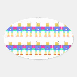 Robot pattern- oval sticker