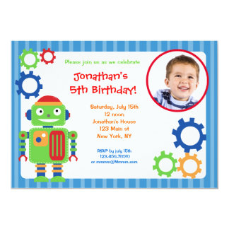 "Robot Photo Birthday Invitations 5"" X 7"" Invitation Card"