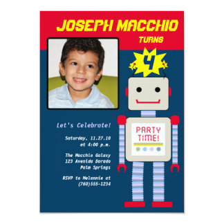 Robot Photo Invitations