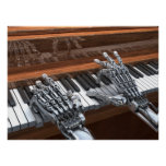 Robot playing on the piano poster