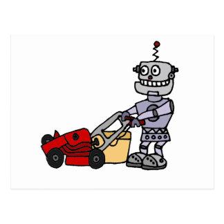 Robot Pushing Lawn Mower Postcard