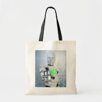 Robot Pushing Power Button Tote Bag