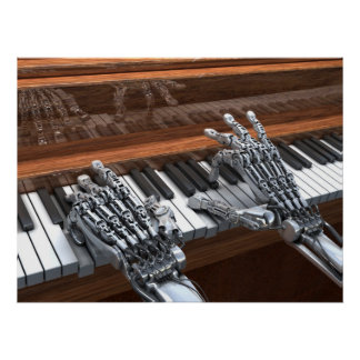Robot que juega en el piano póster