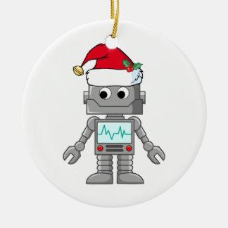 Robot que lleva el gorra de Santa Adorno Navideño Redondo De Cerámica