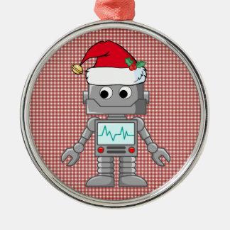 Robot que lleva el gorra de Santa Adorno Navideño Redondo De Metal