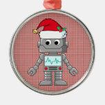 Robot que lleva el gorra de Santa Ornamentos De Navidad