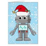 Robot que lleva el gorra de Santa Tarjeta De Felicitación