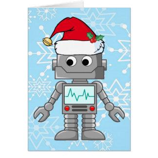 Robot que lleva el gorra de Santa Tarjetón