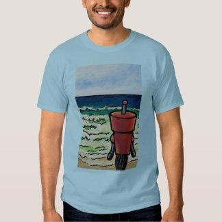 Robot que mira hacia fuera al mar poleras