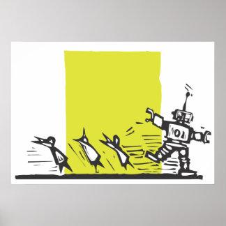 Robot que persigue a gente posters