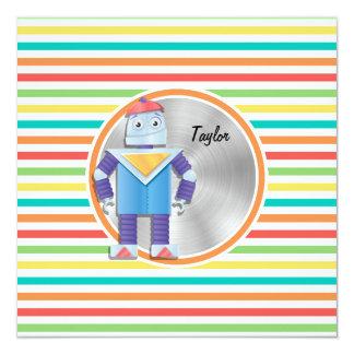 Robot; Rayas brillantes del arco iris Invitación 13,3 Cm X 13,3cm