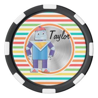 Robot; Rayas brillantes del arco iris Juego De Fichas De Póquer