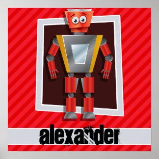 Robot; Rayas del rojo del escarlata Póster