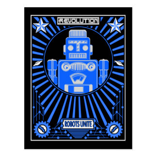 Robot Reolution Blue Postcard