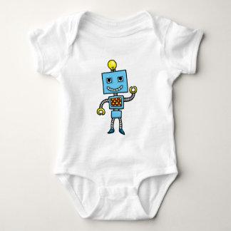 Robot retro del azul del dibujo animado camisas