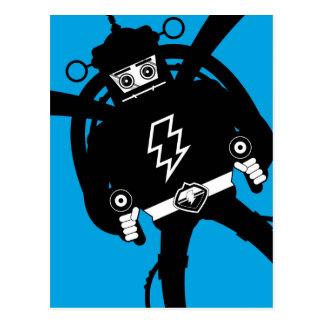 Robot retro del gigante de la ciencia ficción tarjeta postal