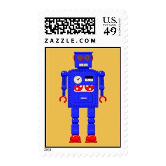 Robot retro del juguete del vintage sellos