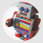 Robot retro pegatina redonda