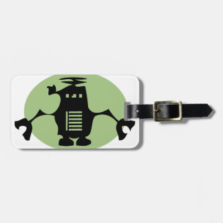 Robot retro - proyector verde etiquetas maleta
