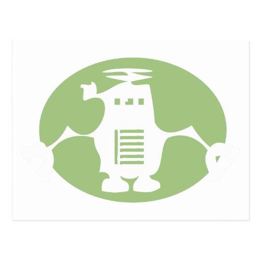 Robot retro - proyector verde tarjetas postales