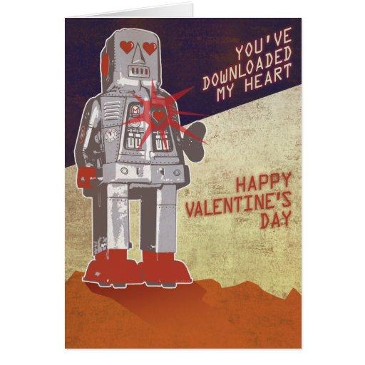 Robot retro - usted ha transferido mi corazón… tarjeta de felicitación