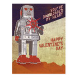 Robot retro - usted ha transferido mi corazón… tarjeta postal