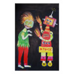 Robot Retro Vintage pop art Poster