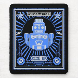 Robot Revolt Blue Mouse Pad