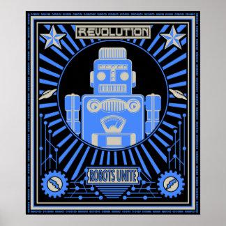Robot Revolt Blue Posters
