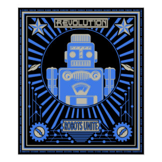 Robot Revolt Blue Poster