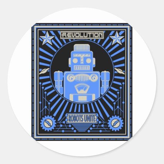 Robot Revolution Blue Classic Round Sticker