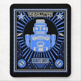 Robot Revolution Blue Mouse Pad