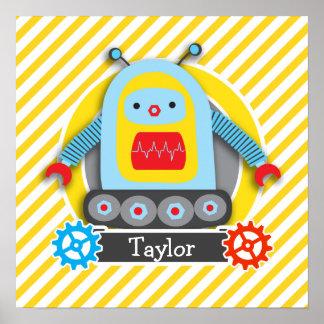 Robot rojo, azul, y amarillo; Rayas blancas Póster