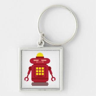 Robot rojo cuadrado llavero cuadrado plateado
