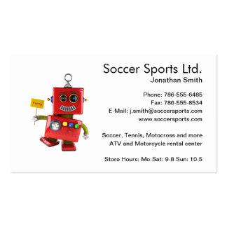 Robot rojo de baile del juguete con la muestra del tarjetas de visita