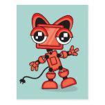 Robot rojo del gato tarjeta postal
