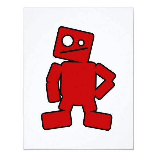 """Robot rojo invitación 4.25"""" x 5.5"""""""