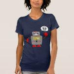 Robot rojo retro de la garra camiseta