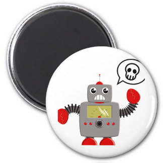 Robot rojo retro de la garra imán redondo 5 cm