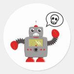 Robot rojo retro de la garra pegatina redonda