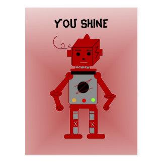 Robot rojo - usted brillo postales