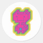 Robot rosado de Kawaii Pegatina Redonda