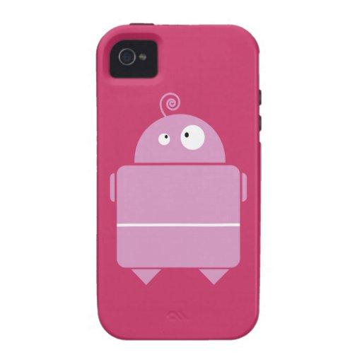 Robot rosado lindo vibe iPhone 4 carcasas