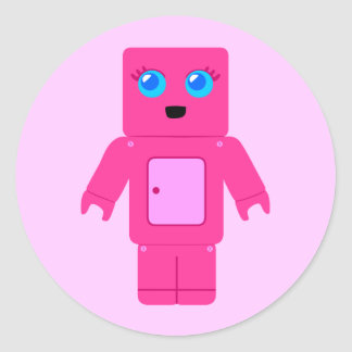 Robot rosado etiqueta redonda