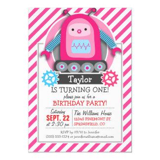 Robot rosado y azul del chica; Rayas rosadas y Invitación 12,7 X 17,8 Cm