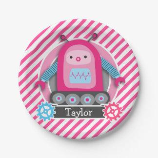 Robot rosado y azul del chica; Rayas rosadas y Platos De Papel