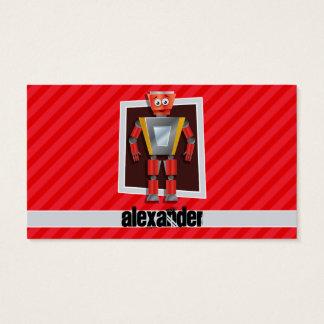 Robot; Scarlet Red Stripes Business Card