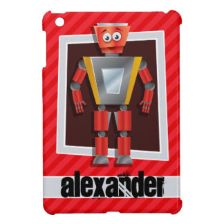 Robot; Scarlet Red Stripes Cover For The iPad Mini